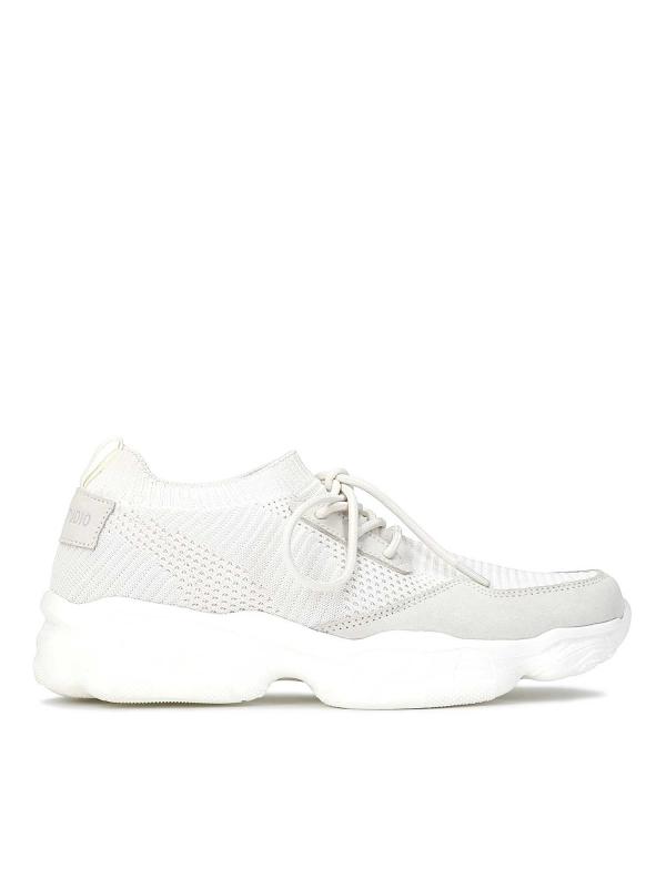 Sneakersy damskie w kolorze złamanej bieli FRANKIE