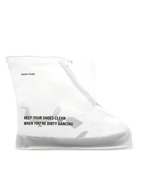 Biały przeciwdeszczowy ochraniacz na buty męski