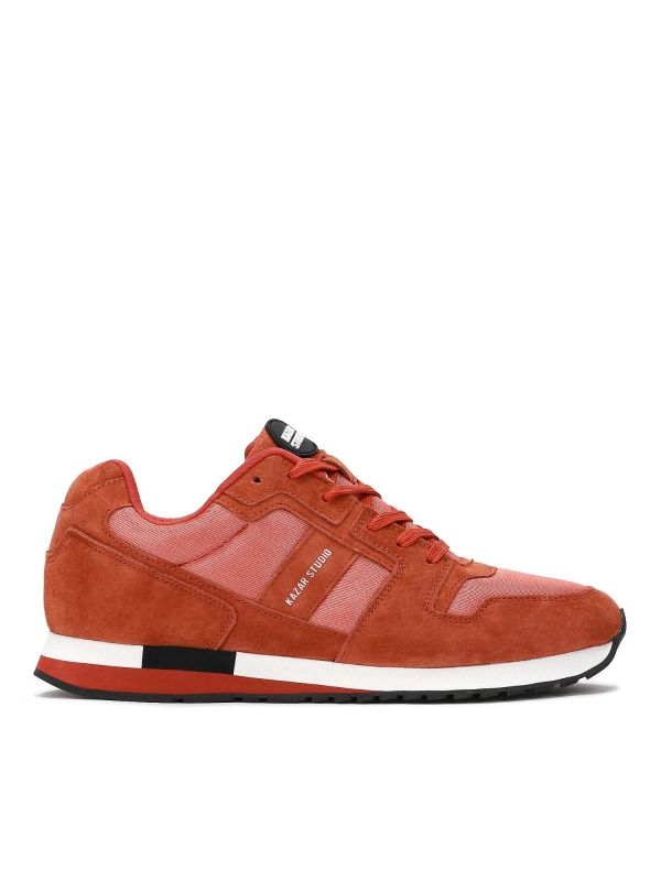 Ceglaste skórzane sneakersy męskie ALEC