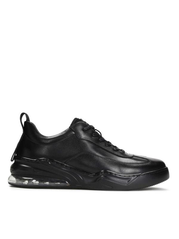 Czarne skórzane sneakersy męskie GREIG
