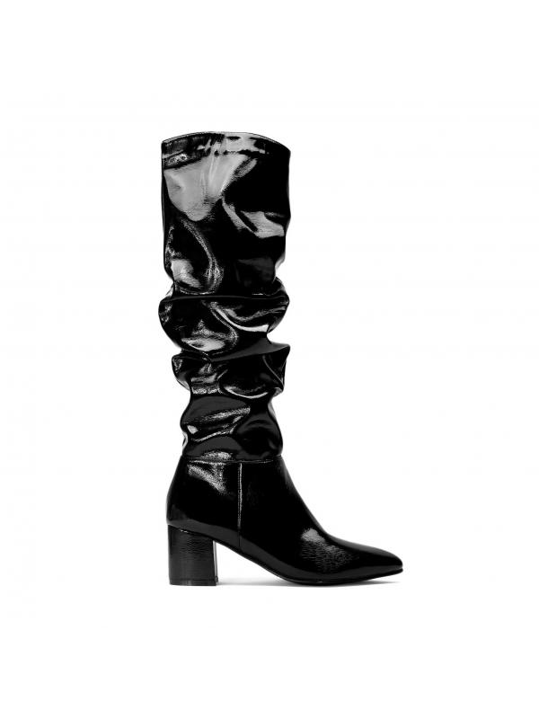 Czarne kozaki damskie  ADA-ROW KS454