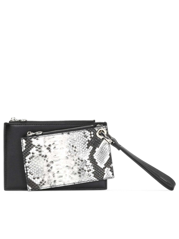 Czarno-biały portfel damski