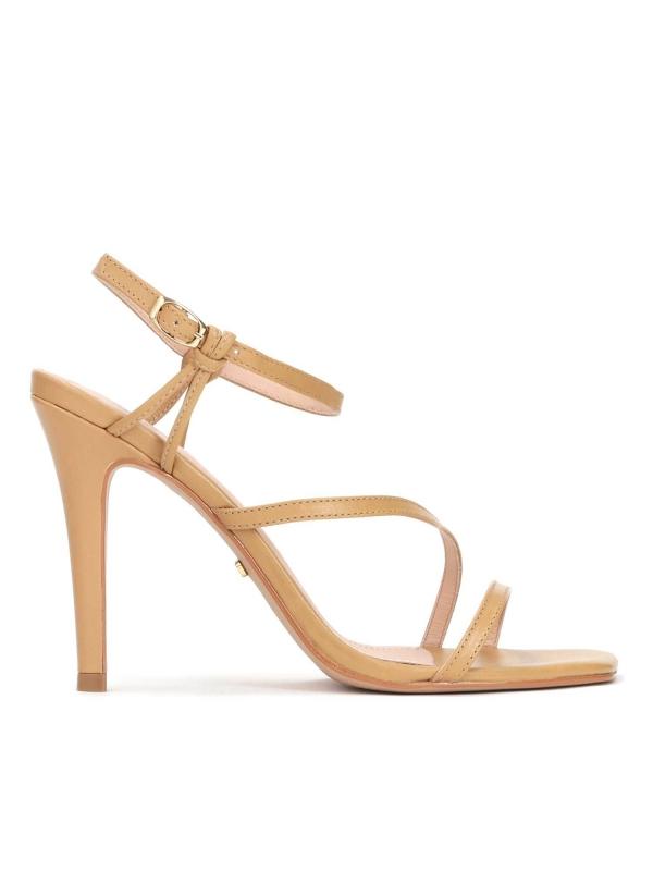 Jasnobrązowe skórzane sandały damskie CARLI