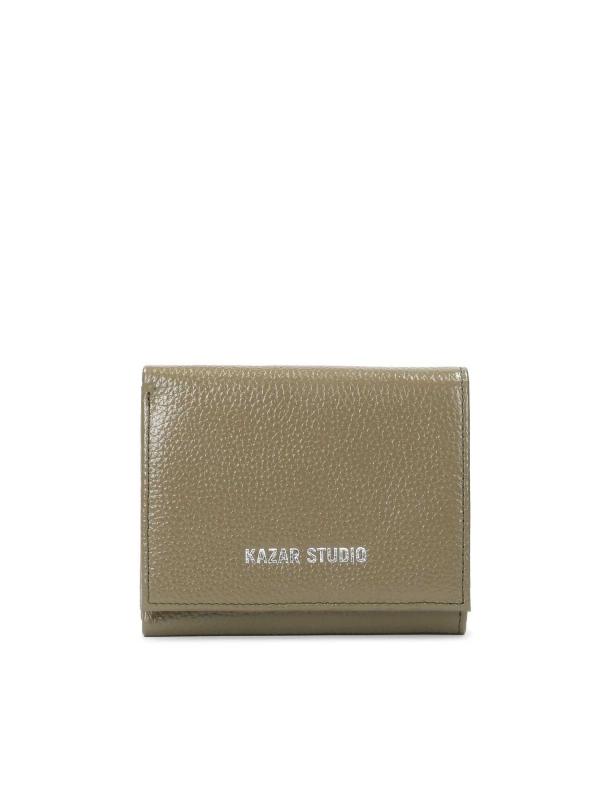 Oliwkowy skórzany portfel damski