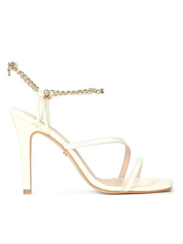 Sandały damskie w kolorze złamanej bieli CARLI