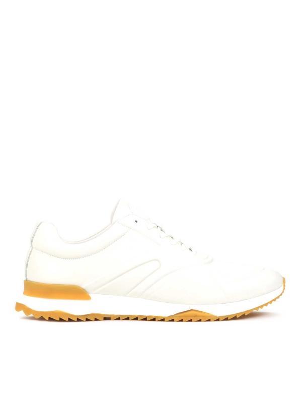 Skórzane sneakersy męskie w kolorze złamanej bieli WILLS
