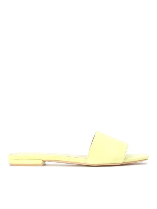 Żółte skórzane klapki damskie MORNING